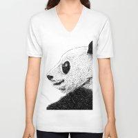 pandas V-neck T-shirts featuring pandas by barmalisiRTB