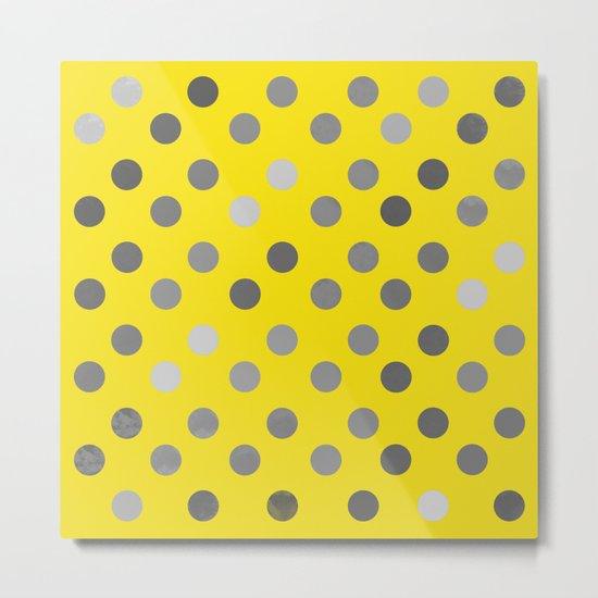 Polka Proton Yellow Metal Print