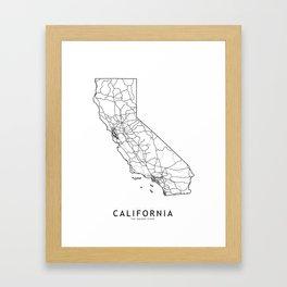 California White Map Framed Art Print