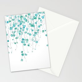 string of hearts watercolor Stationery Cards