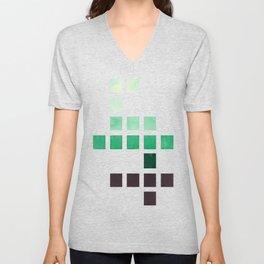 Colorful Teal Turquoise Deep Green Mid Century Modern Minimalist Square Geometric Pattern Unisex V-Neck