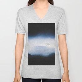 Misty Mountains Low Cloudy Sky Birds Landscape Unisex V-Neck