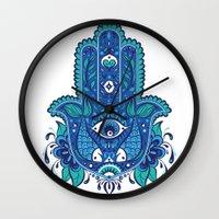 hamsa Wall Clocks featuring Hamsa by Miss ChatZ