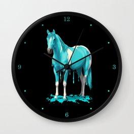 Cyan Blue Funny Wet Paint Horse Wall Clock