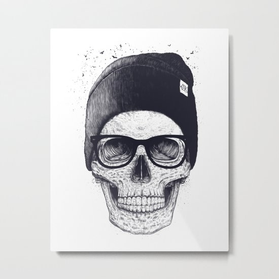 Grey Skull in a hat Metal Print