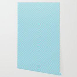 Aqua Blue and Pink Floridian Tartan Check Plaid Wallpaper