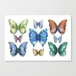 Butterfly Taxidermy // Beautiful Mandala Detailed Wings Design // Lime Green, Bright Blue, Gold Canvas Print
