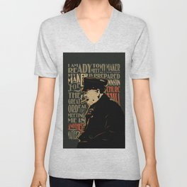Winston Churchill Pop Art Quote Unisex V-Neck