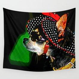 classy chihuahua dog lady vector art Wall Tapestry