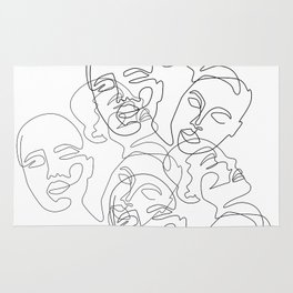 Lined Face Sketches Rug