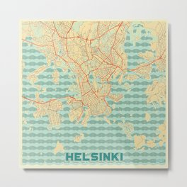 Helsinki Map Retro Metal Print