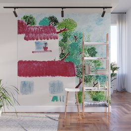 Village houses in the woods watercolor Wall Mural