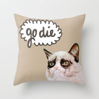grumpy Throw Pillows featuring Grumpy by Liffy Designs