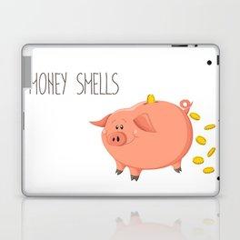 Money smells - Art print with piggy bank Laptop & iPad Skin