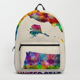 USA Map in Watercolor Backpack