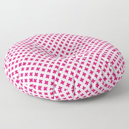 Small Hot Neon Pink Crosses on White Floor Pillow