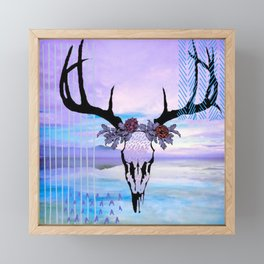 SkullandFlowerCrown Framed Mini Art Print