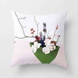 Orchids in a Green Pot Throw Pillow
