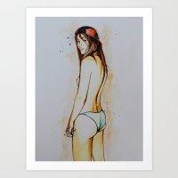 girl in undies Art Print