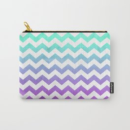 Purple Mint Aqua Ombre Chevron Pattern Carry-All Pouch