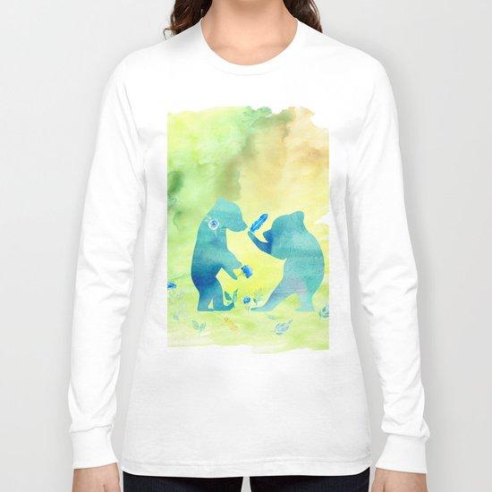 Playing bear kids - Animal Watercolor illustration Long Sleeve T-shirt