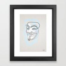 One line mask: V Framed Art Print