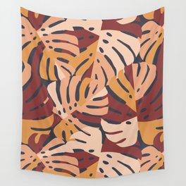 Color Block Monstera Leaves in Maroon Wall Tapestry