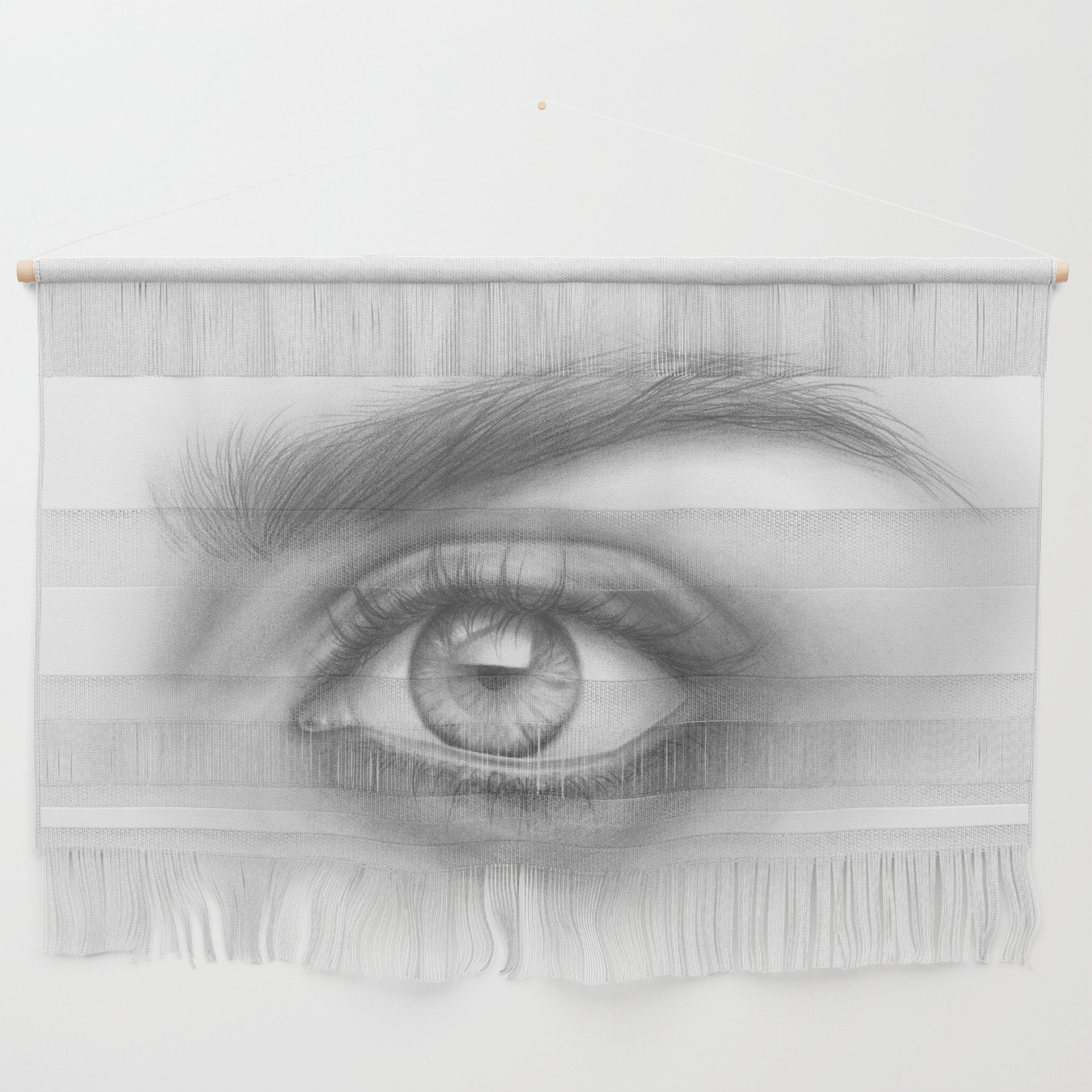 Eye art sexy girl beauty model woman face graphite drawing pencil black and white art wall hanging by magdaopoka