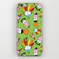 thanksgiving iPhone & iPod Skins featuring Thanksgiving Crew by Pig & Pumpkin