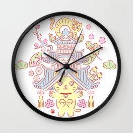 Japanese Tradition Kawaii Cat-NOSENYAN Wall Clock