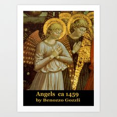 1459 Benozzo Gozoli - Angels (detail) Art Print