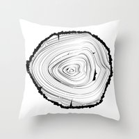 tree rings Throw Pillows featuring Tree Rings by brittcorry