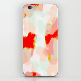 Veronica - Red & blush abstract art iPhone Skin