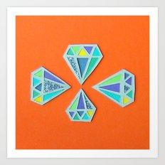 Diamonds Papercut Art Print