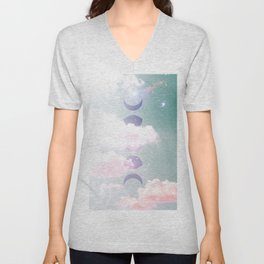 Moon Phases Cloudy Sky Unisex V-Neck