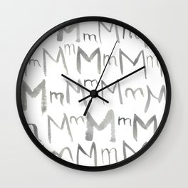 Watercolor M's - Grey Gray Wall Clock