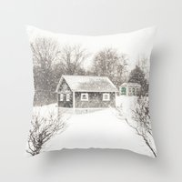 cape cod Throw Pillows featuring Cape Cod Snowstorm by ELIZABETH THOMAS Photography of Cape Cod