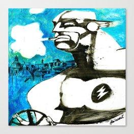 Superhero stressed in traffic Canvas Print