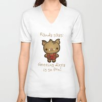 randy c V-neck T-shirts featuring Randy the Dirty Boar by Squid&Pig