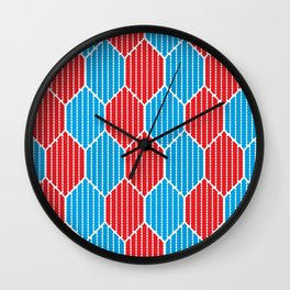 Blue red lozenges Wall Clock