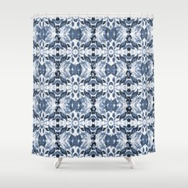 BLUE ABSTRACT LEAVES Shower Curtain