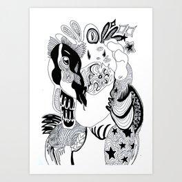 Der Zyklop und sein Pony - B&W Monsters Art Print