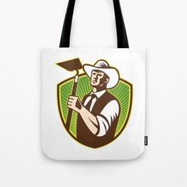 Organic Farmer Holding Grab Hoe Shield Tote Bag