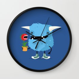 Monster and his pet plant carnivore Wall Clock