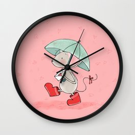 Little Mouse - Lovely Rain Wall Clock