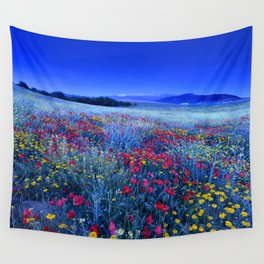 Spring poppies at blue hour Wall Tapestry