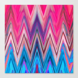 Bright Pink Teal Ikat Chevron Aztec Pattern Canvas Print