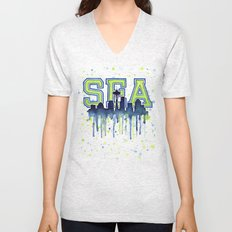 Seattle 12th Man Art Watercolor Space Needle Painting Unisex V-Neck