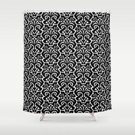 Art Nouveau Pattern Black And White Shower Curtain