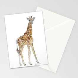 Baby Giraffe Watercolor Painting Stationery Cards